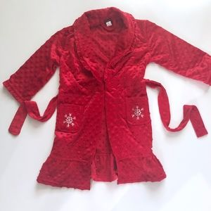 Girls Petit Lem Red Snowflake Ruffle Robe 4/5